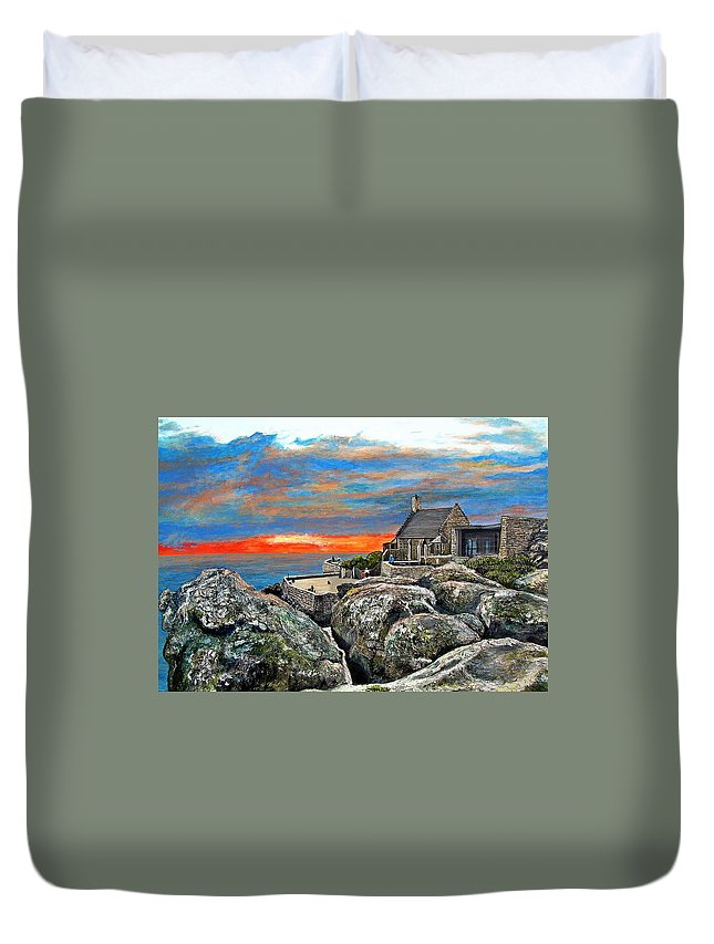 Sunset Duvet Cover featuring the painting Top Of Table Mountain by Michael Durst