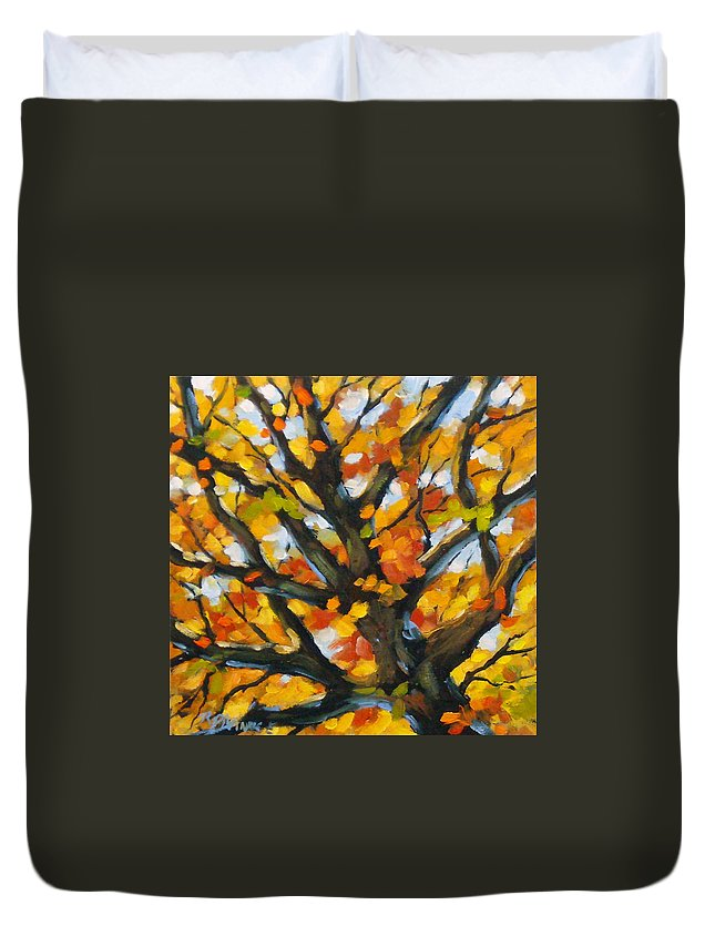 Art For Sale; Original Painting; Prankearts; Landscape; Birches; Trees; Nature; Richard T Pranke; Duvet Cover featuring the painting Top Of The Maples by Richard T Pranke