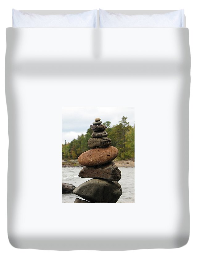 Rocks Duvet Cover featuring the photograph Top Of The Stack by Kelly Mezzapelle