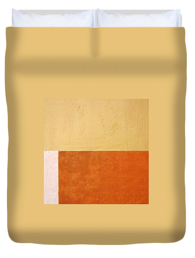 Orange Duvet Cover featuring the painting Topaz Pink Orange by Michelle Calkins