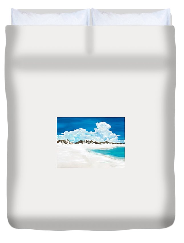 Beach Duvet Cover featuring the painting Topsail Hill by Racquel Morgan