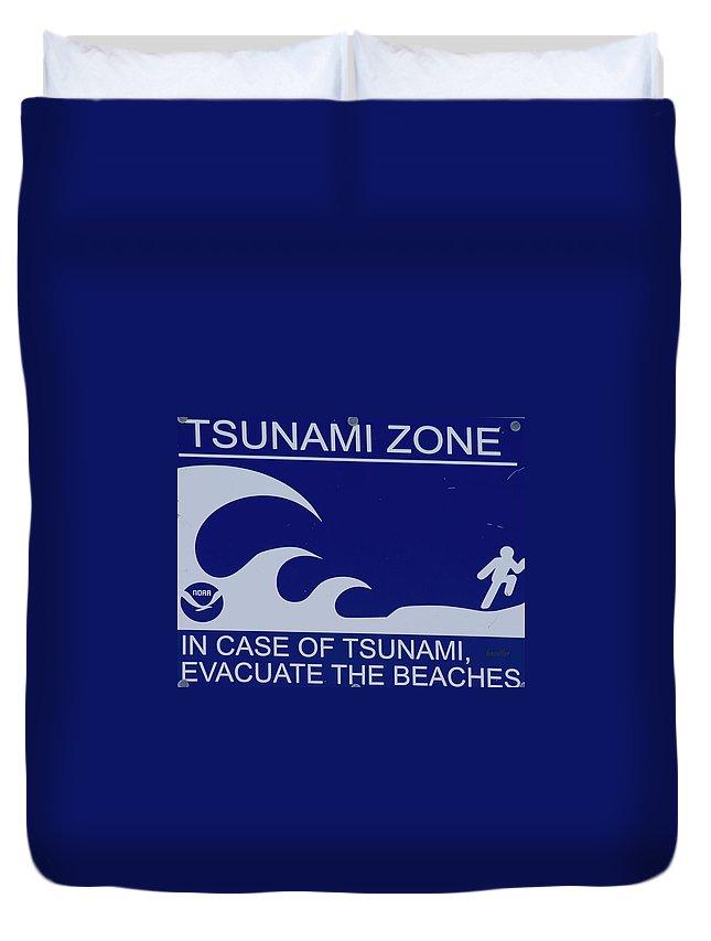 Tsunami Duvet Cover featuring the photograph Topsail Island's Tsunami Zone Sign by Betsy Knapp