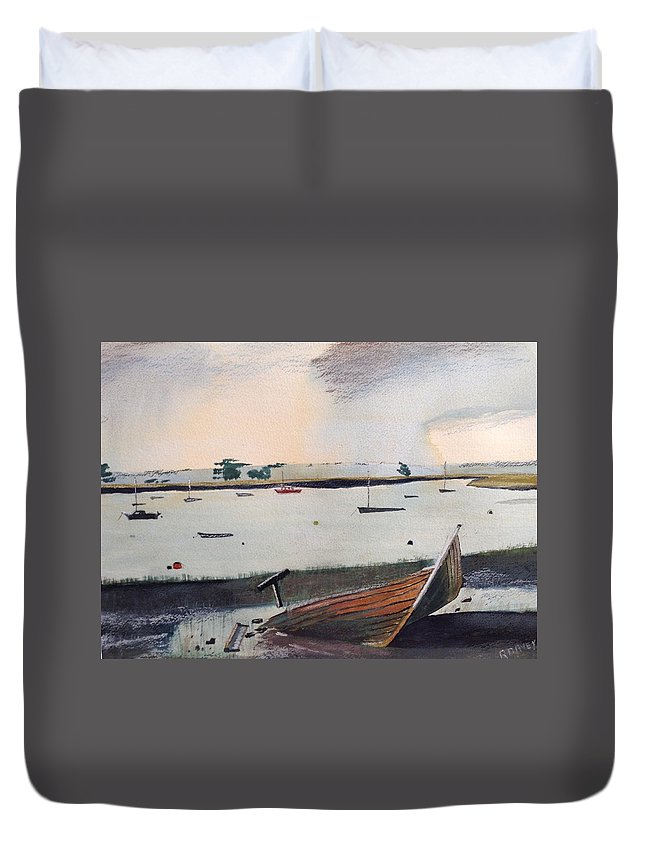 Topsham Duvet Cover featuring the painting Topsham Wreck by Roger Davey