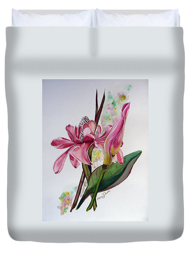 Flower Painting Floral Painting Botanical Painting Flowering Ginger. Duvet Cover featuring the painting Torch Ginger Lily by Karin Dawn Kelshall- Best