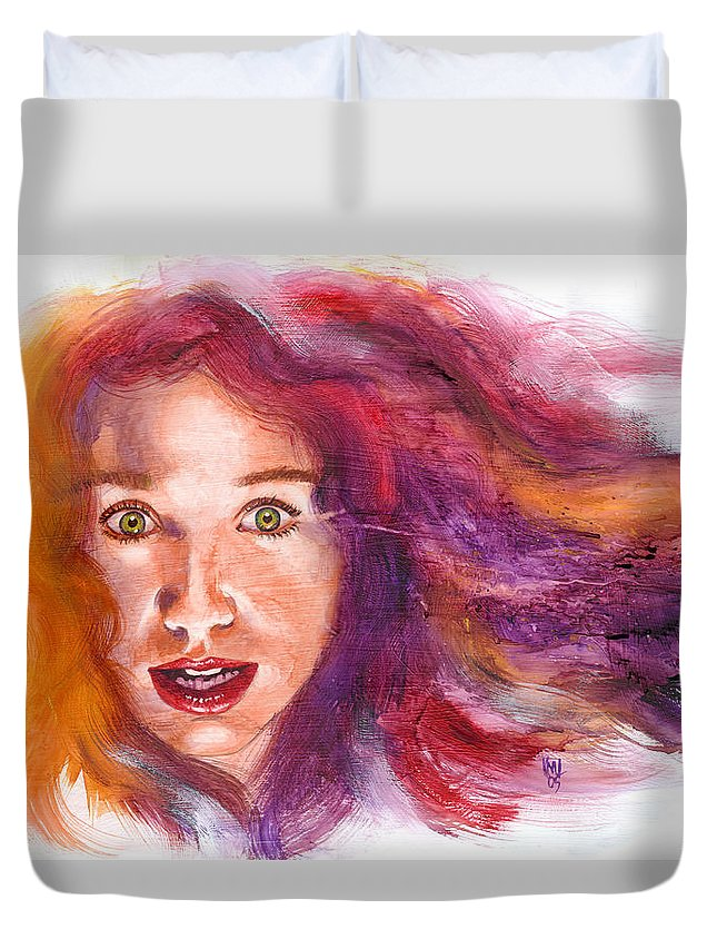 Musicians Duvet Cover featuring the painting Tori Rainbow by Ken Meyer jr