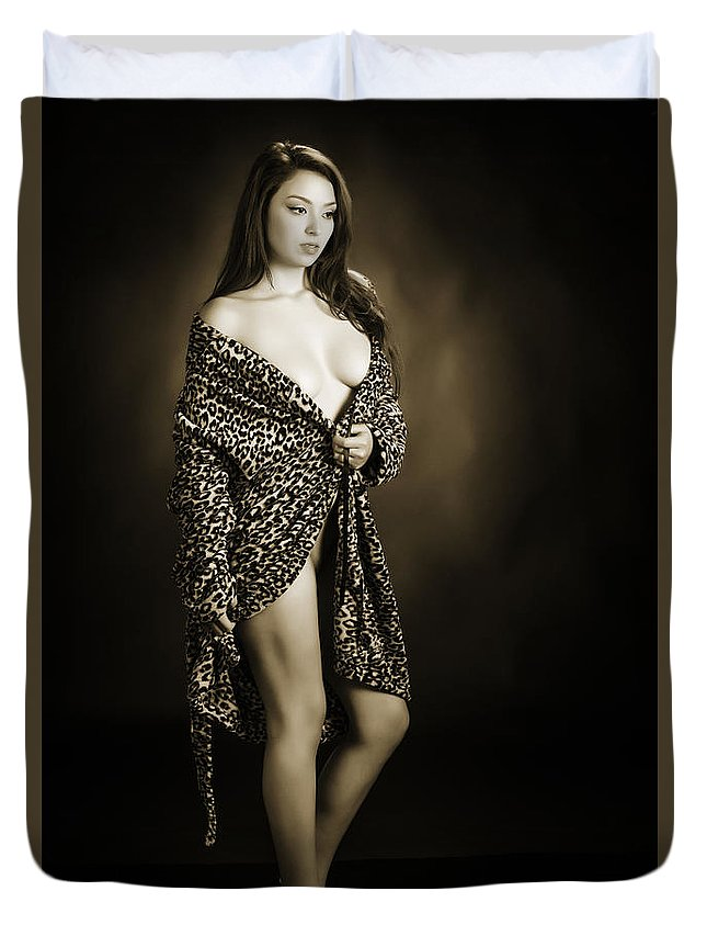 Toriwaits Duvet Cover featuring the photograph Toriwaits Nude Fine Art Print Photograph In Black And White 5105 by Kendree Miller