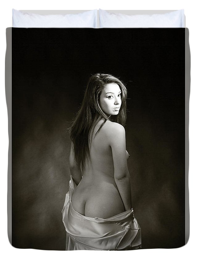 Toriwaits Duvet Cover featuring the photograph Toriwaits Nude Fine Art Print Photograph In Black And White 5116 by Kendree Miller