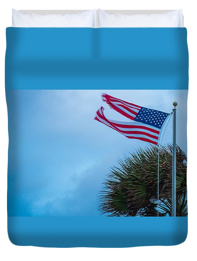 American Flag Duvet Cover featuring the photograph Torn Glory by Lawrence S Richardson Jr
