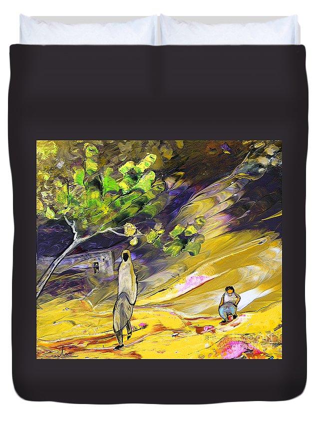 Tornado Duvet Cover featuring the painting Tornado by Miki De Goodaboom