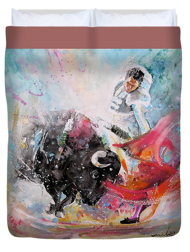 Animals Duvet Cover featuring the painting Toro Tempest by Miki De Goodaboom