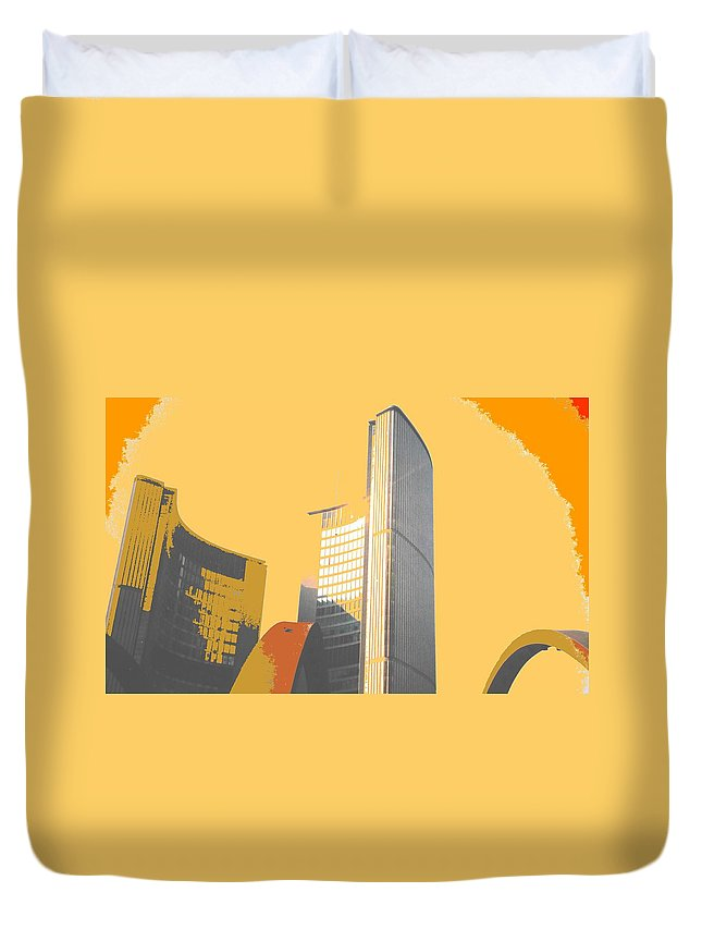 Toronto Duvet Cover featuring the photograph Toronto City Hall Arches by Ian MacDonald