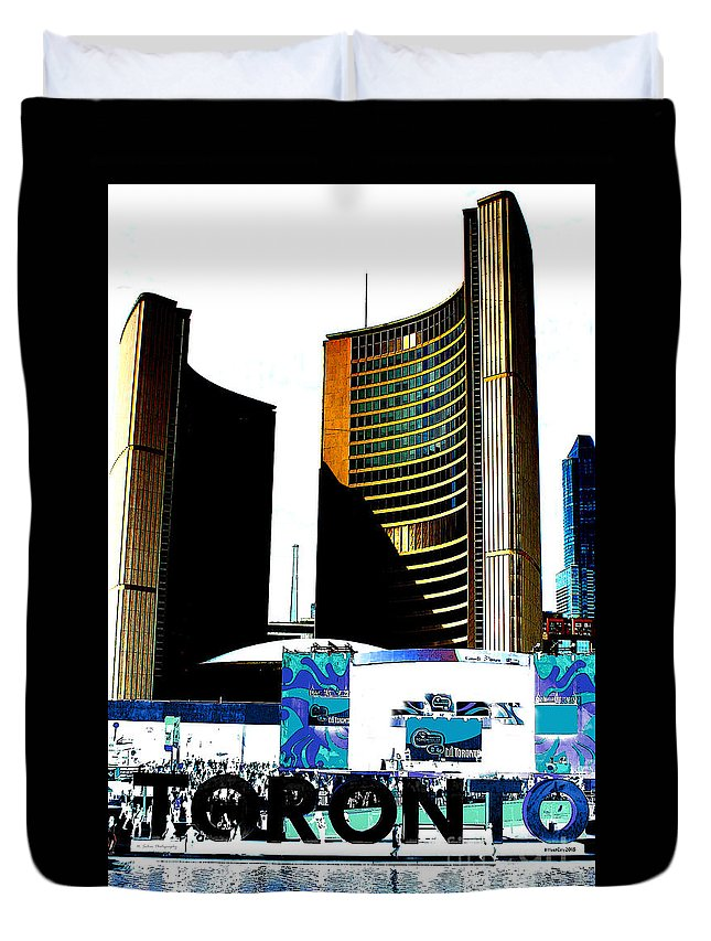 Toronto Duvet Cover featuring the photograph Toronto City Hall Graphic Poster by Nina Silver