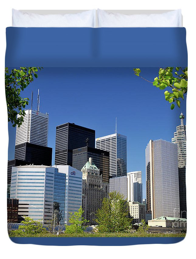 Toronto Duvet Cover featuring the photograph Toronto Downtown Skyline by Oleksiy Maksymenko