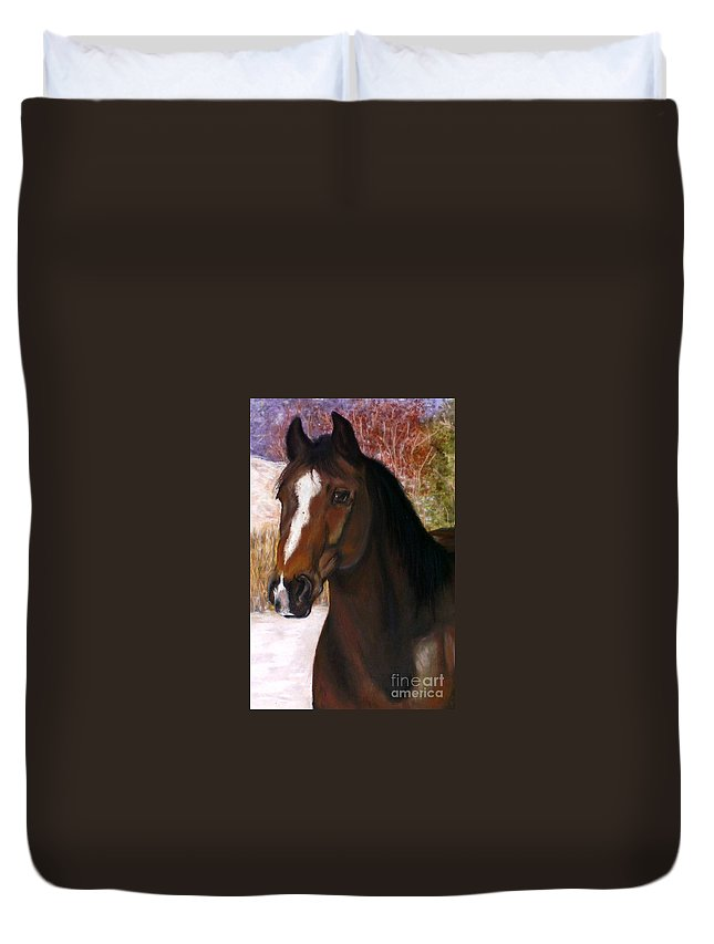 Horse Duvet Cover featuring the painting Toronto by Frances Marino