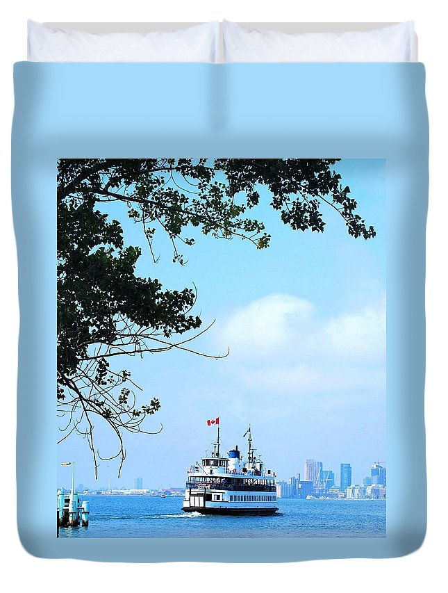 Ferry Duvet Cover featuring the photograph Toronto Island Ferry by Ian MacDonald