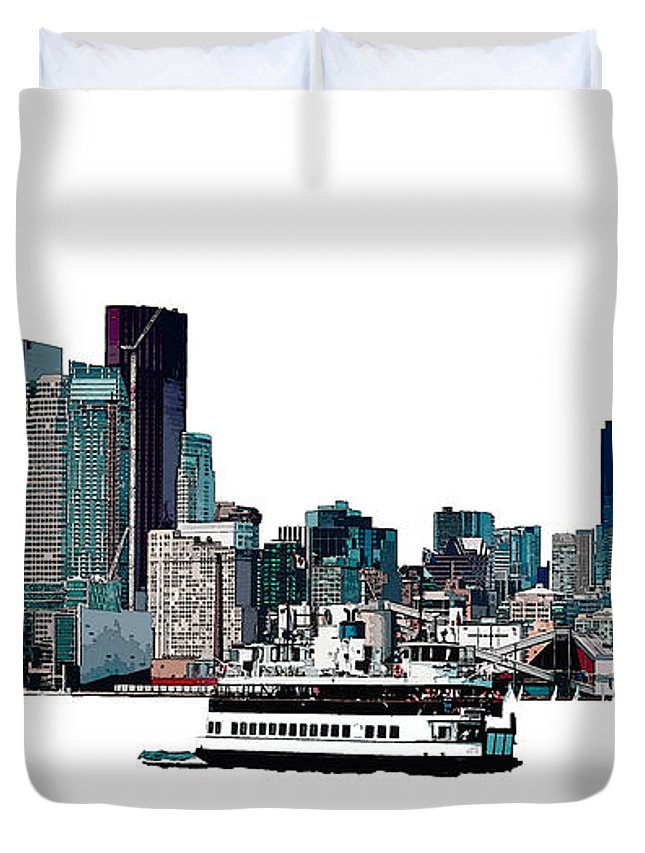 Toronto Duvet Cover featuring the photograph Toronto Portlands Skyline With Island Ferry by Nina Silver