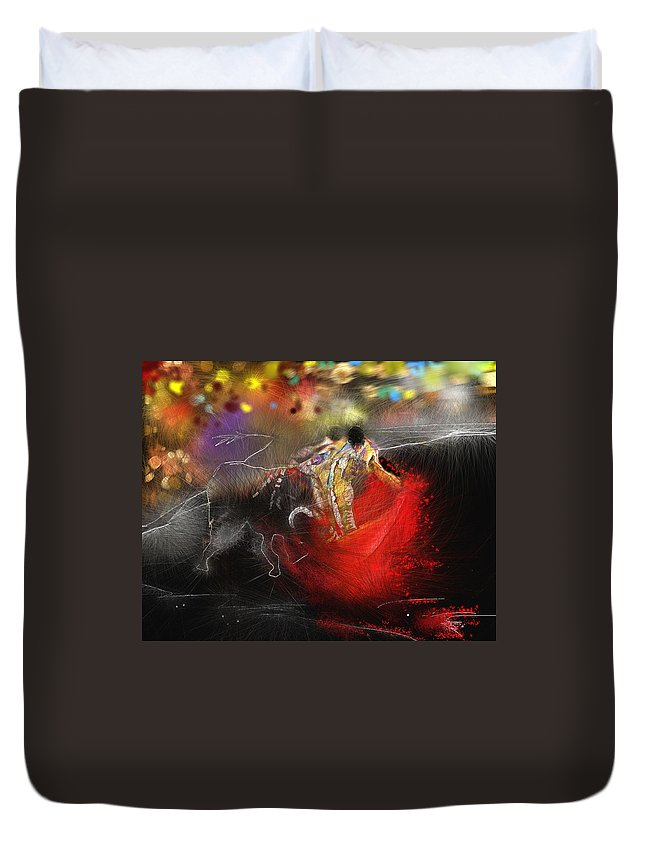 Animals Duvet Cover featuring the painting Toroscape 18 by Miki De Goodaboom