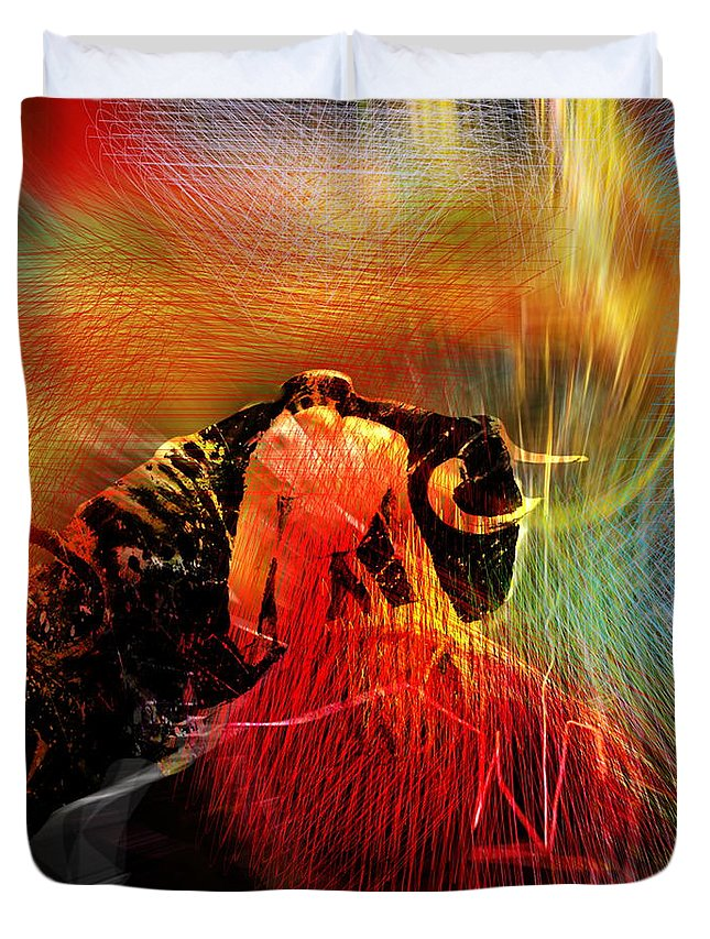 Toros Duvet Cover featuring the painting Toroscape 19 by Miki De Goodaboom
