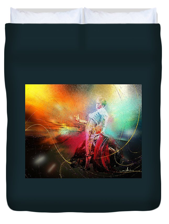 Animals Duvet Cover featuring the painting Toroscape 25 by Miki De Goodaboom