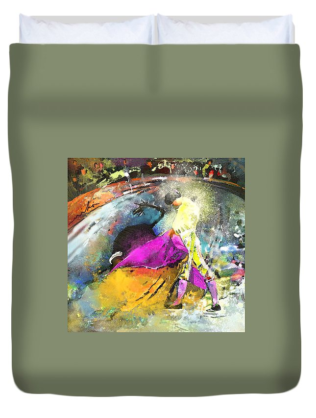 Animals Duvet Cover featuring the painting Toroscape 28 by Miki De Goodaboom