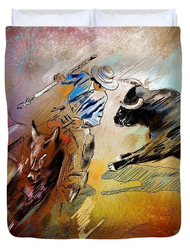 Bullfight Duvet Cover featuring the painting Toroscape 42 by Miki De Goodaboom