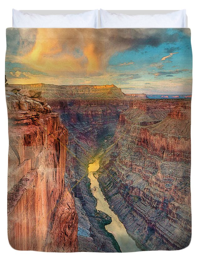 Decoration Duvet Cover featuring the digital art Toroweap by Don Kuing
