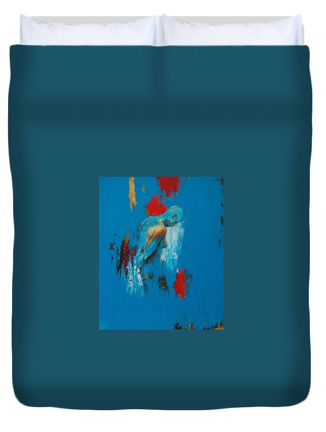 Female Duvet Cover featuring the painting Torso In Blue by Jos Van de Venne
