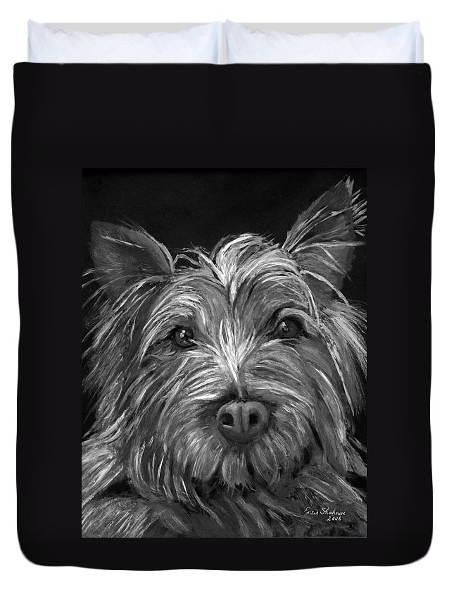 Dogs Duvet Cover featuring the painting Tosha The Highland Terrier by Portraits By NC
