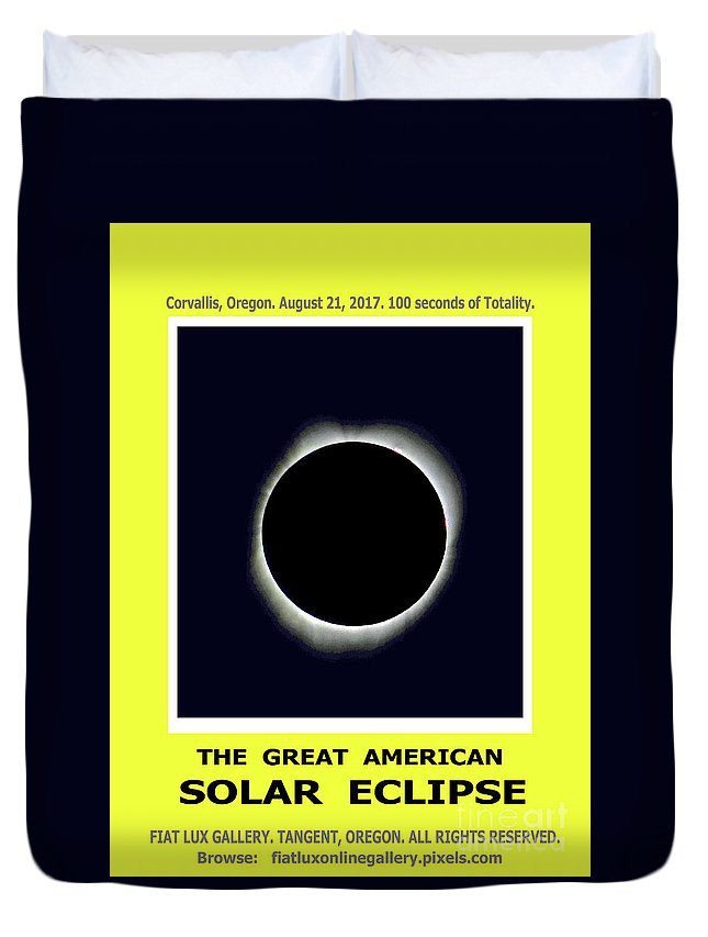 Solar Eclipse. Total Solar Eclipse. Totality. Moon Shadows. American Solar Eclipse 2017. Duvet Cover featuring the photograph Totality II by Mike Moore