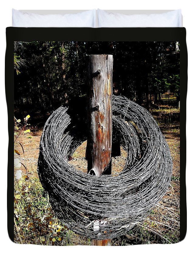 Barbed Wire Duvet Cover featuring the photograph Totally Wired by Will Borden