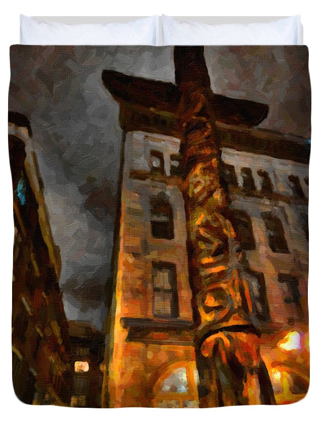 Market Duvet Cover featuring the painting Totem In The City by Andre Faubert