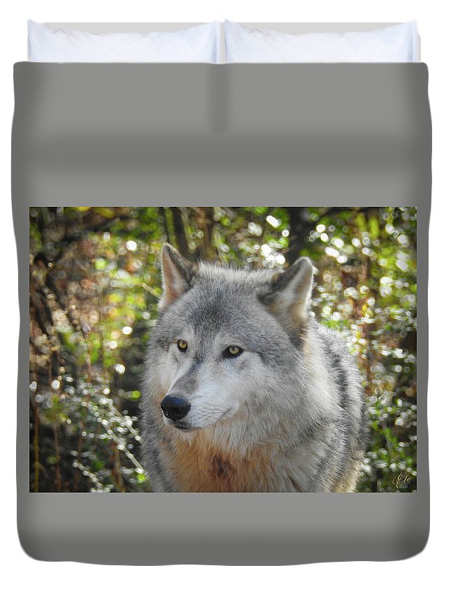 Wolf Duvet Cover featuring the photograph Totem, No. 28 by Elie Wolf