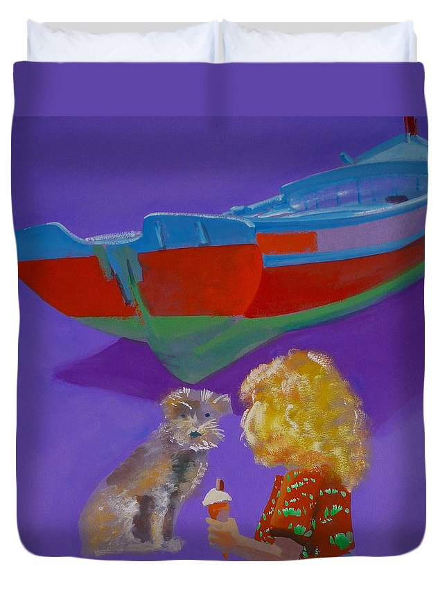 Blonde Duvet Cover featuring the painting Toto by Charles Stuart