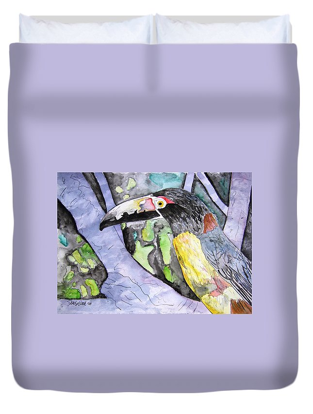 Touccan Duvet Cover featuring the painting Toucan Bird Tropical Painting Fine Modern Art Print by Derek Mccrea