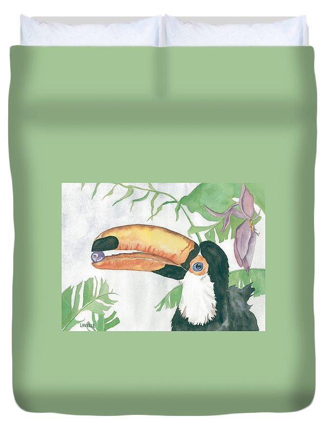 Birds Duvet Cover featuring the painting Toucan by Kimberly Lavelle