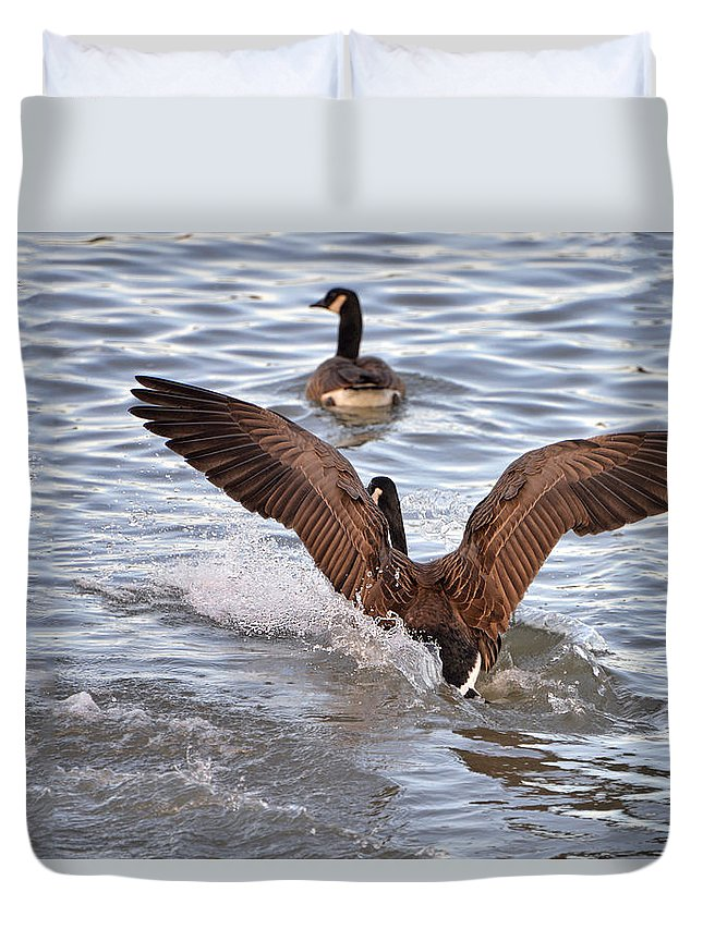 Goose Duvet Cover featuring the digital art Touch Down by Anita Hubbard