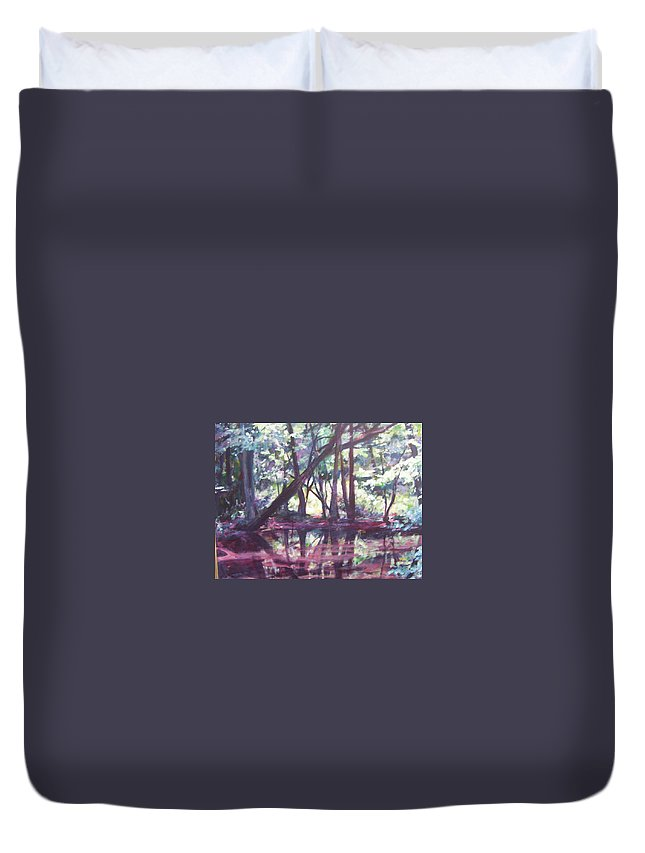 Landscape Duvet Cover featuring the painting Touch Of Blue by Sheila Holland