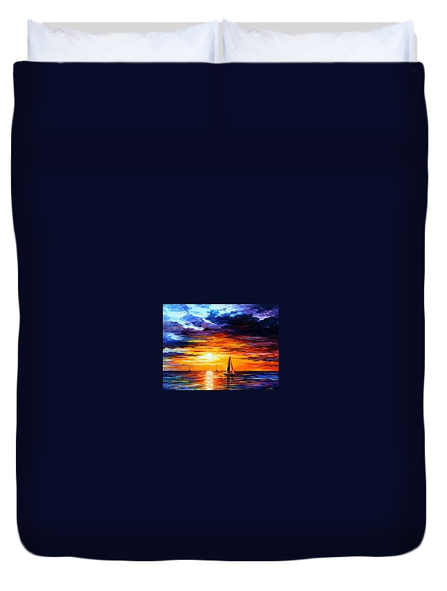 Afremov Duvet Cover featuring the painting Touch Of Horizon by Leonid Afremov