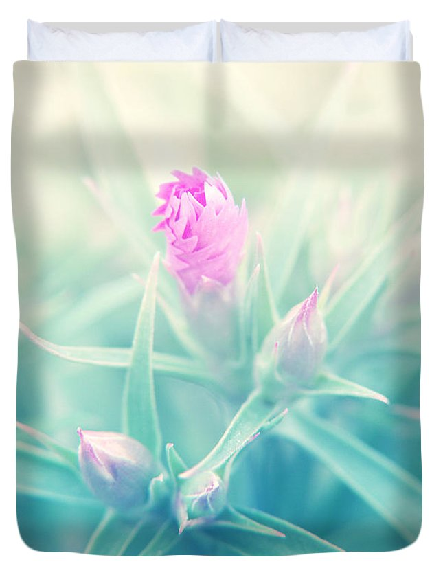 Flowers Duvet Cover featuring the photograph Touch Of Pink by Jackie Farnsworth