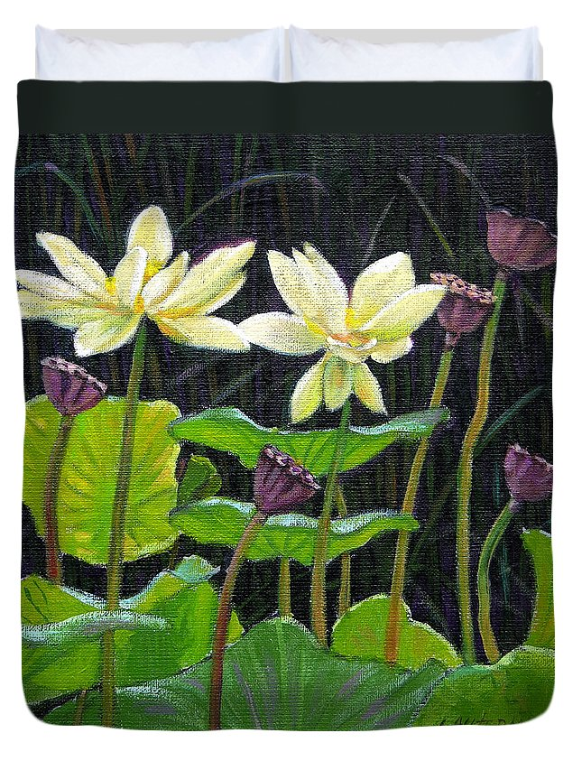 Lotus Duvet Cover featuring the painting Touching Lotus Blooms by John Lautermilch