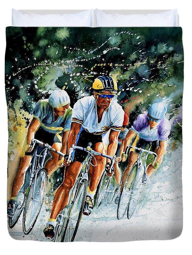 Tour De France Duvet Cover featuring the painting Tour De Force by Hanne Lore Koehler
