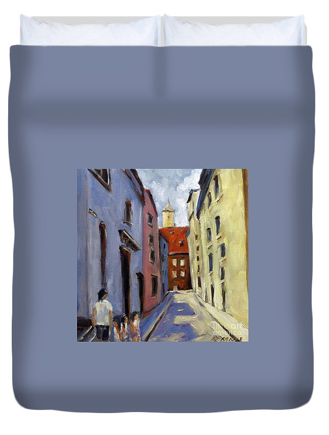 Urban Duvet Cover featuring the painting Tour Of The Old Town by Richard T Pranke