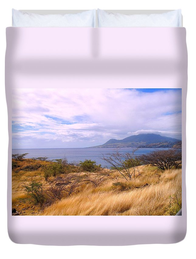 St Kitts Duvet Cover featuring the photograph Towards Basseterre by Ian MacDonald