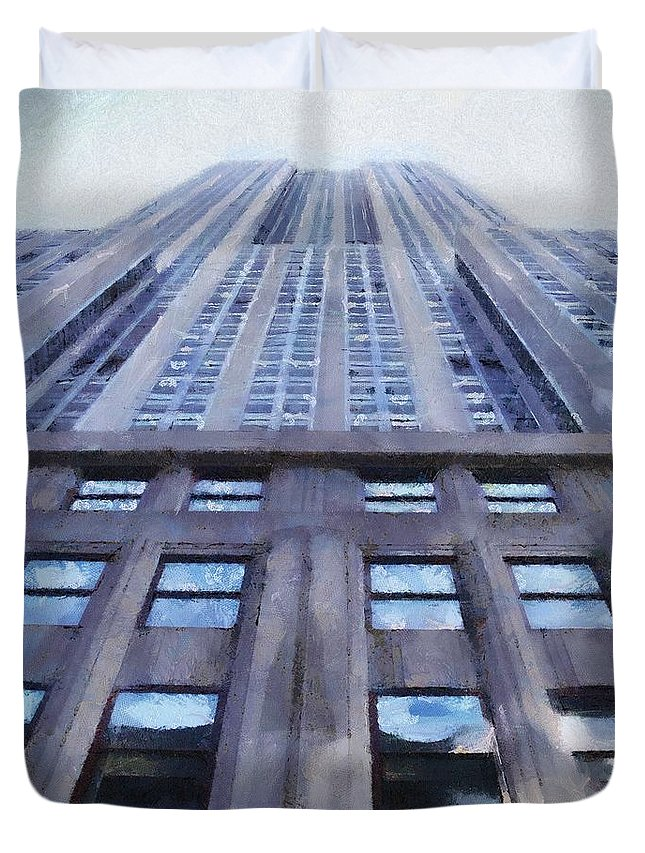 Empire State Building Duvet Cover featuring the painting Tower Of Steel And Stone by Jeffrey Kolker