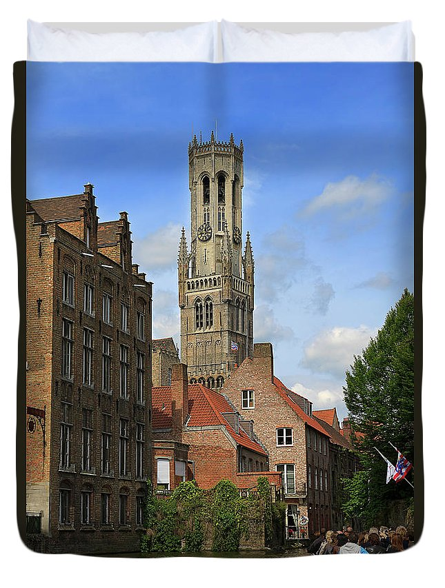 Bruges Duvet Cover featuring the photograph Tower Of The Belfrey From The Canal At Rozenhoedkaai by Louise Heusinkveld