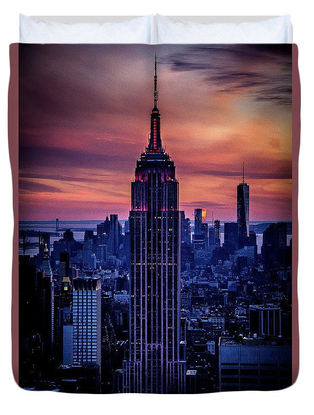 Empire State Building Duvet Cover featuring the photograph Tower Of Towers by Jordan Hogenson
