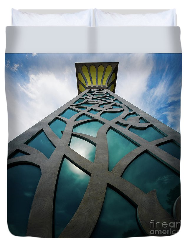 Decorative Post Duvet Cover featuring the photograph Towering Post by Doug Sturgess