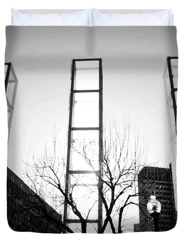 Black And White Duvet Cover featuring the photograph Towers by Greg Fortier