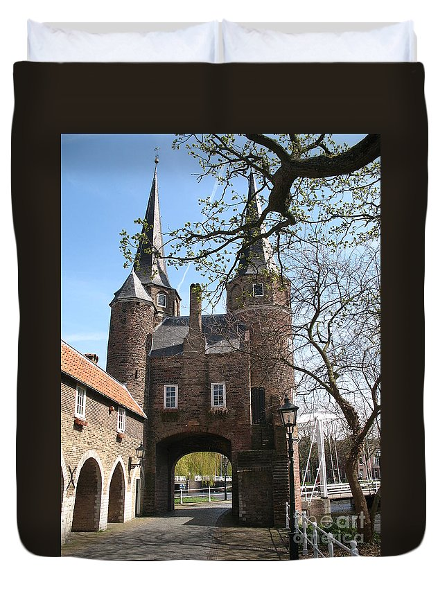 Town Gate Duvet Cover featuring the photograph Town Gate - Delft by Christiane Schulze Art And Photography