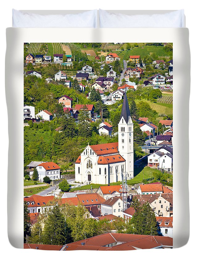 Croatia Duvet Cover featuring the photograph Town Of Krapina Church Vertical View by Brch Photography